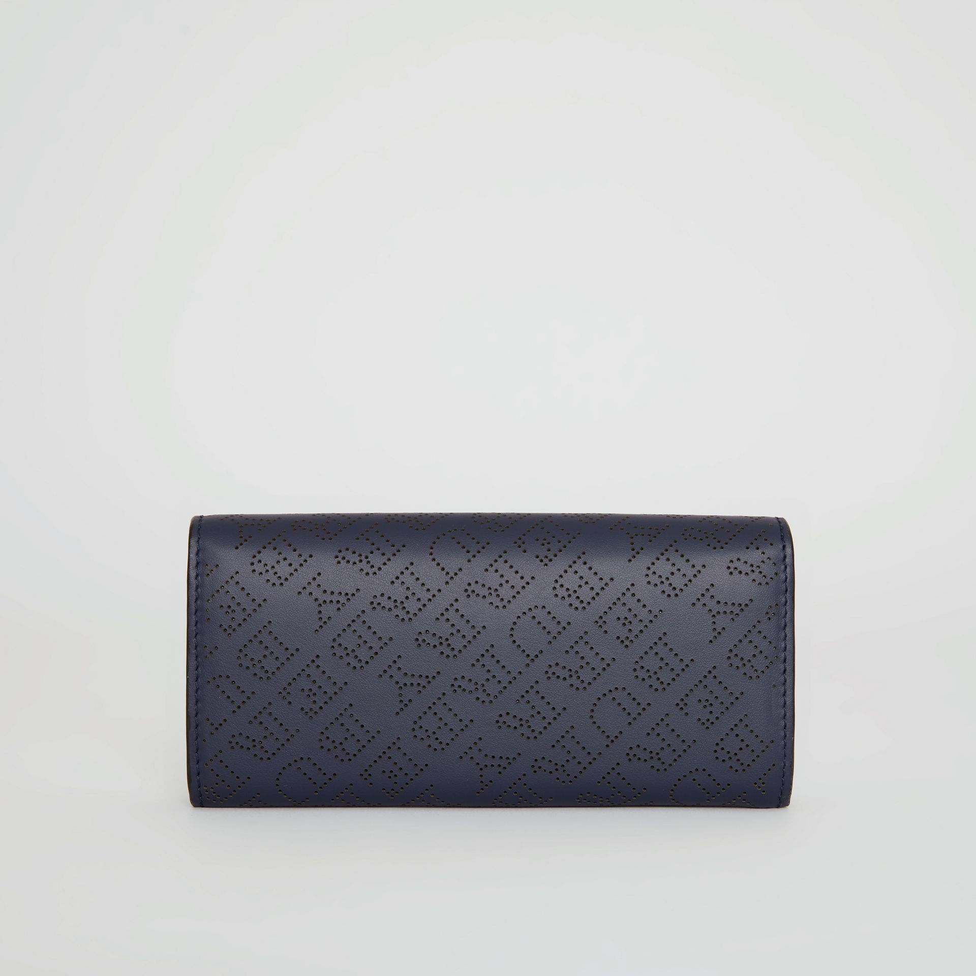 Perforated Logo Leather Continental Wallet in Navy - Women | Burberry - gallery image 5