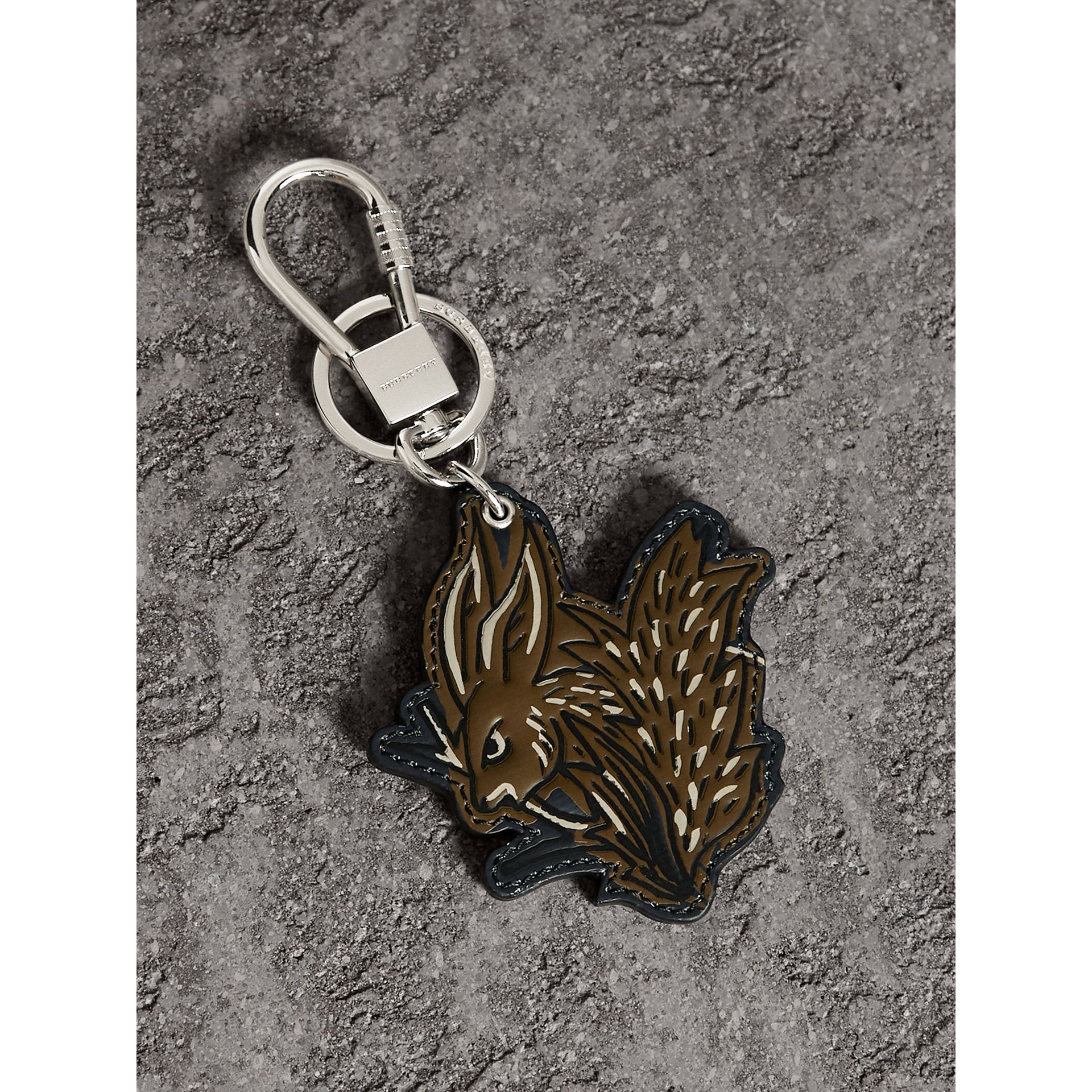Beasts Leather Key Ring in Tan | Burberry - gallery image 1