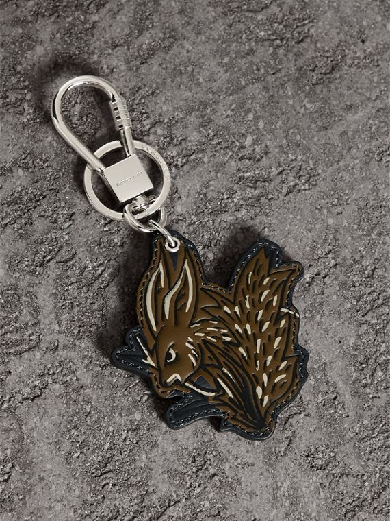 Beasts Leather Key Ring in Tan | Burberry Singapore