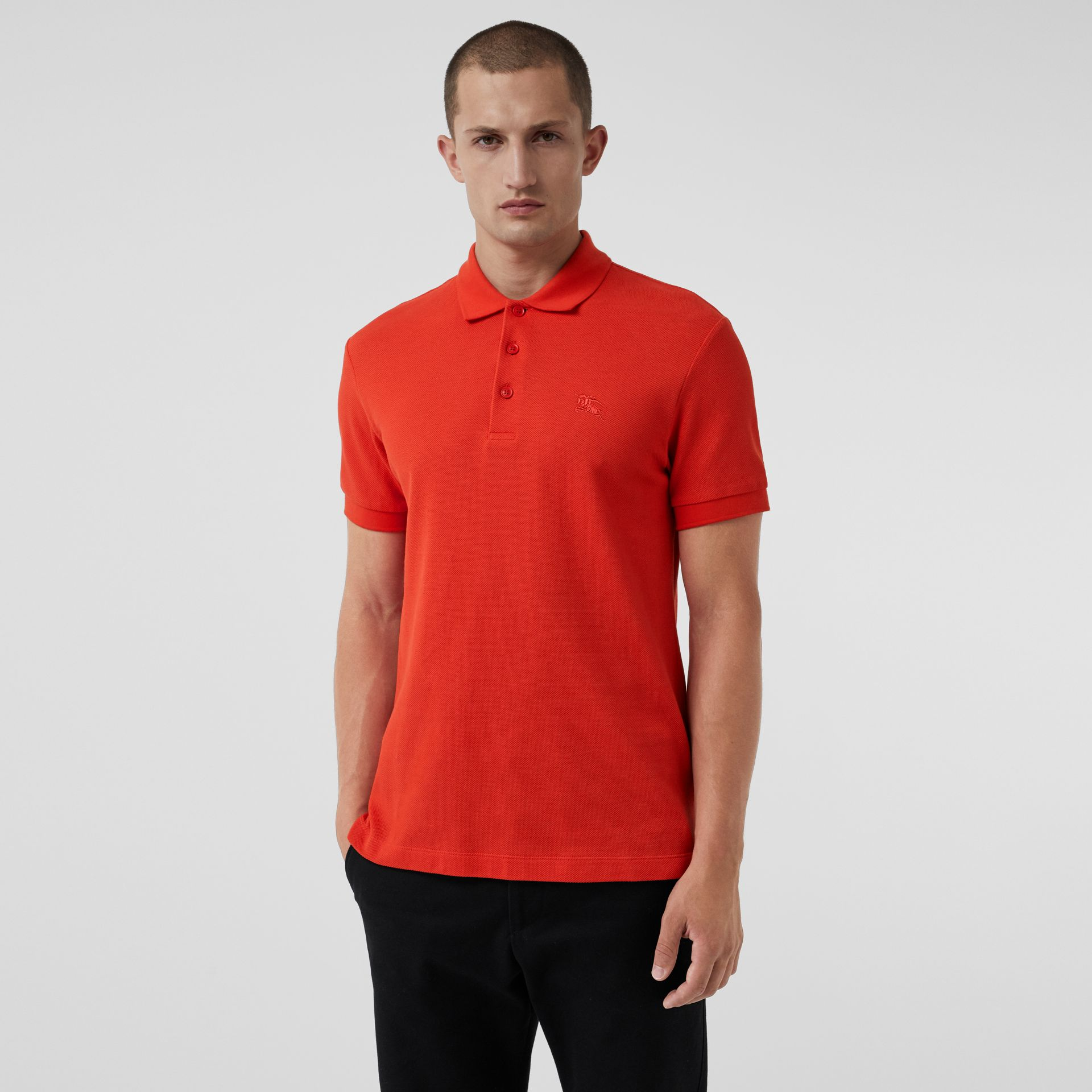 Check Trim Cotton Polo Shirt in Bright Red - Men | Burberry - gallery image 0