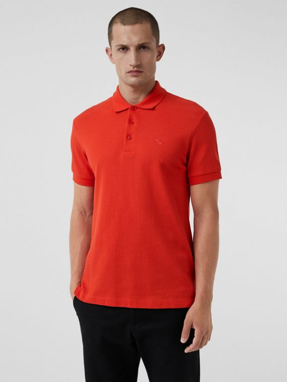 Check Placket Cotton Polo Shirt in Bright Red