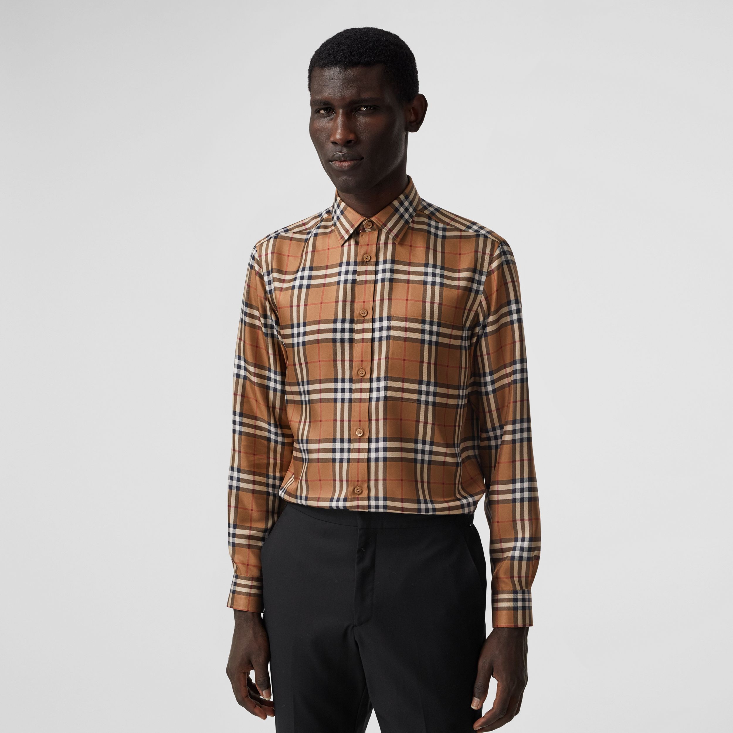 Slim Fit Vintage Check Silk Shirt in Birch Brown - Men | Burberry Hong Kong S.A.R. - 1