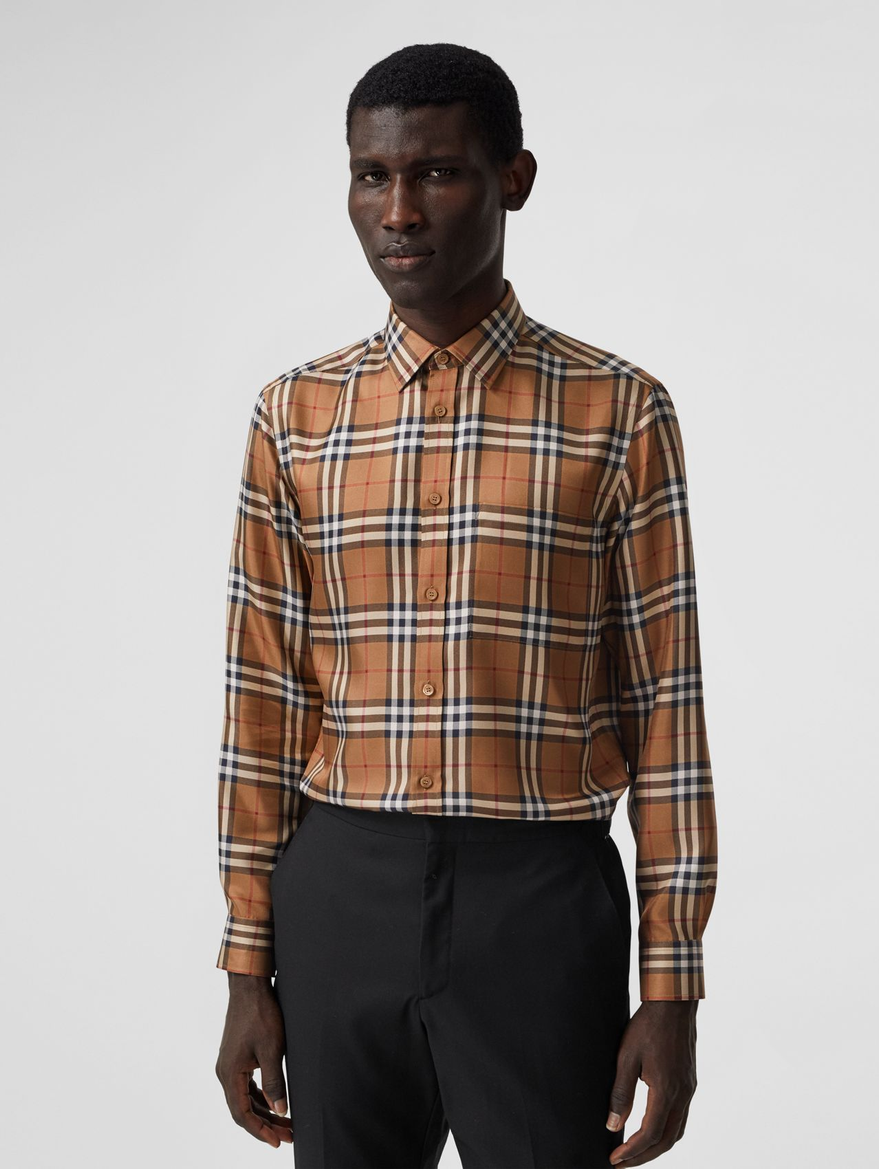 Slim Fit Vintage Check Silk Shirt in Birch Brown