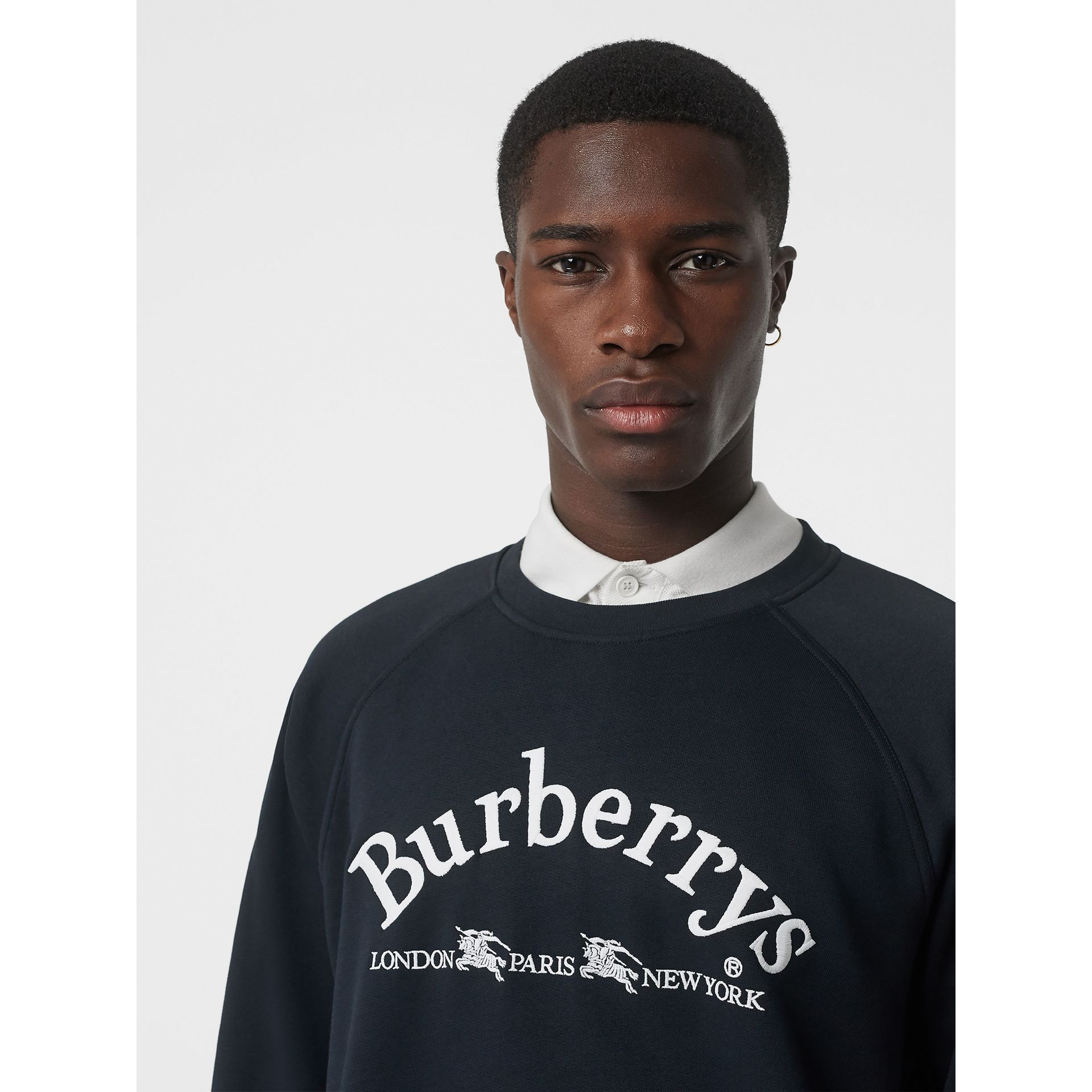 Embroidered Archive Logo Jersey Sweatshirt in Navy - Men | Burberry - gallery image 1