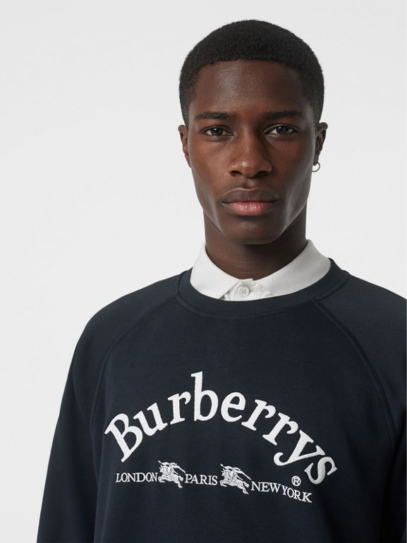 Embroidered Archive Logo Jersey Sweatshirt in Navy - Men | Burberry - cell image 1
