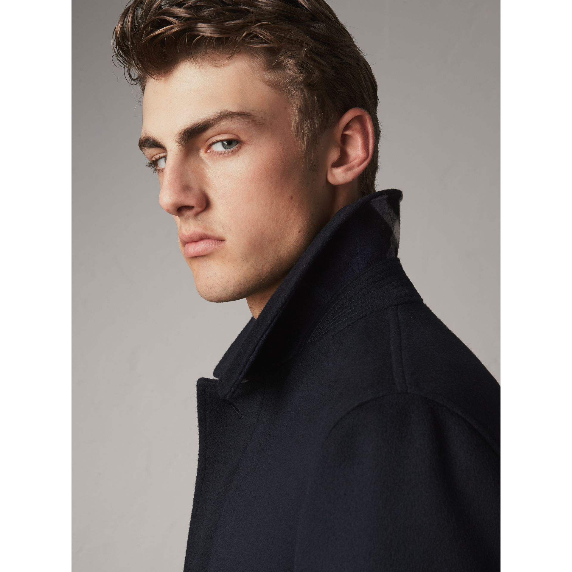 Wool Cashmere Car Coat in Navy | Burberry - gallery image 4