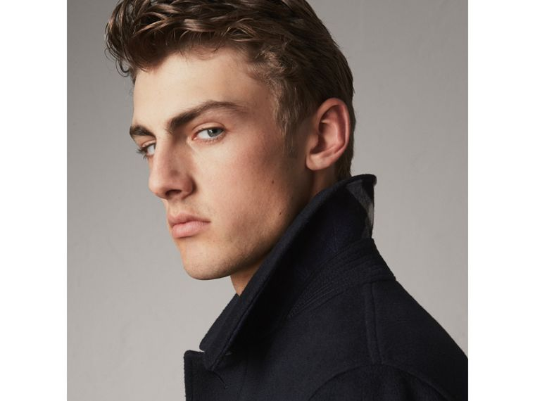 Wool Cashmere Car Coat in Navy - Men | Burberry Australia - cell image 4