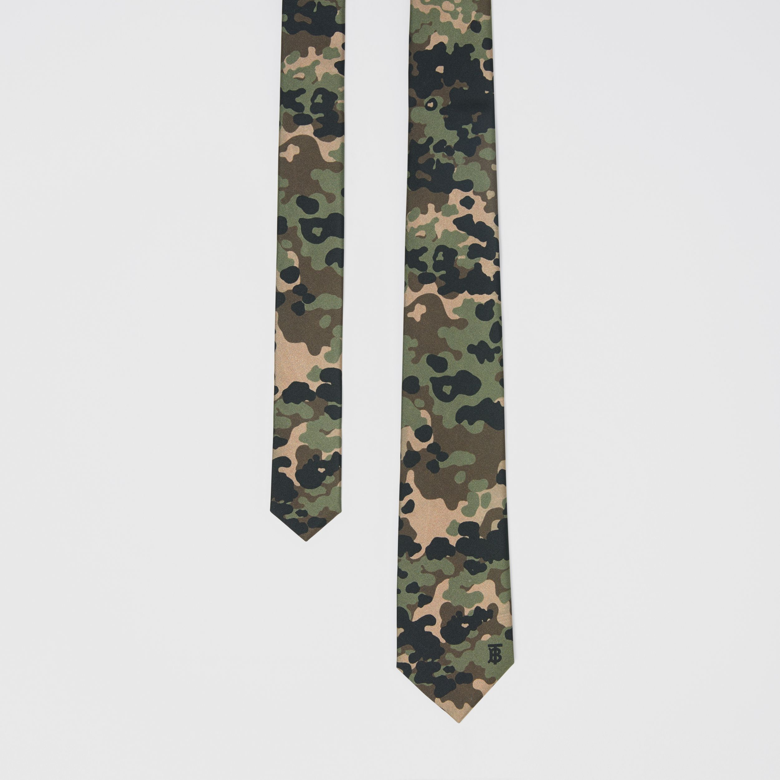 Classic Cut Camouflage Print Silk Tie in Khaki Green - Men | Burberry - 1