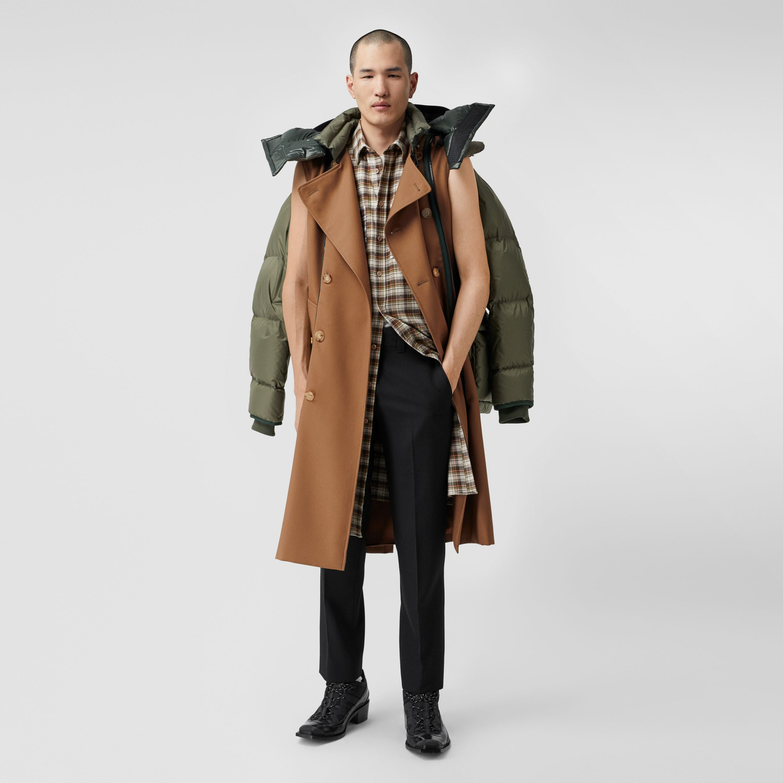 Sleeveless Wool Trench Coat with Detachable Puffer in Dark Walnut | Burberry United States - 1