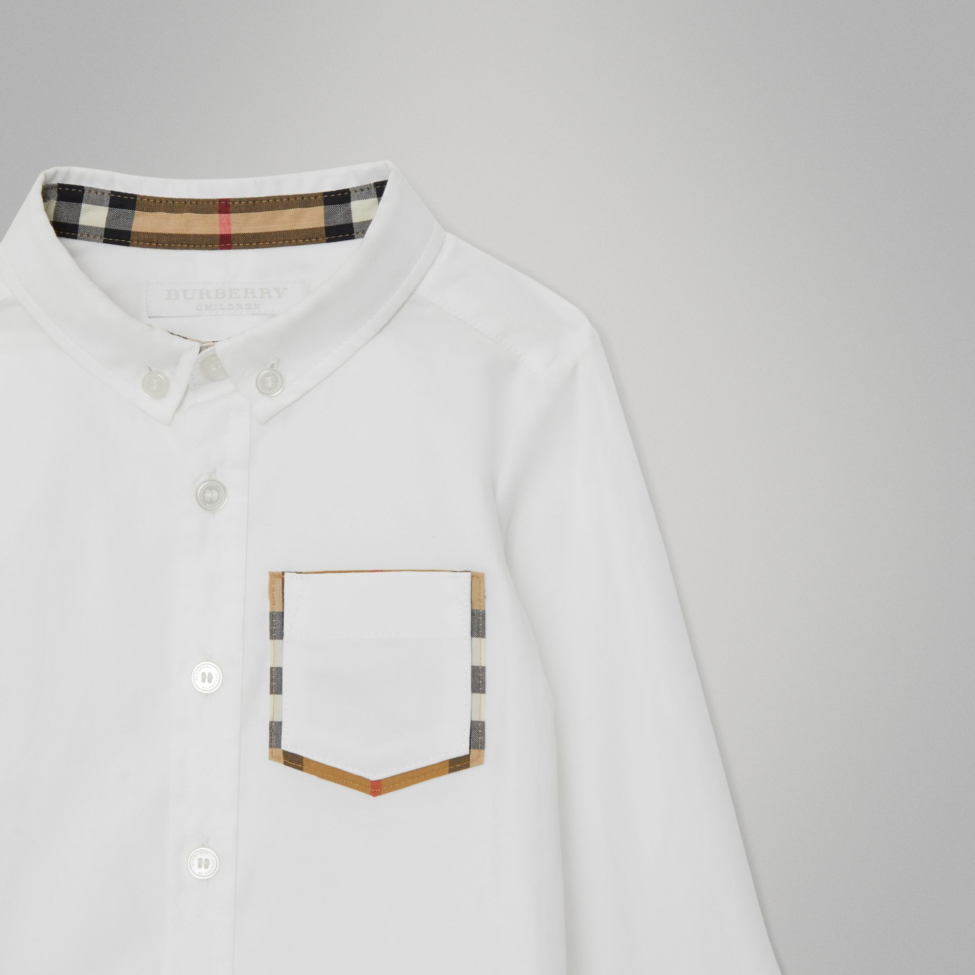 Check Detail Cotton Oxford Shirt in White - Children | Burberry United States - gallery image 4