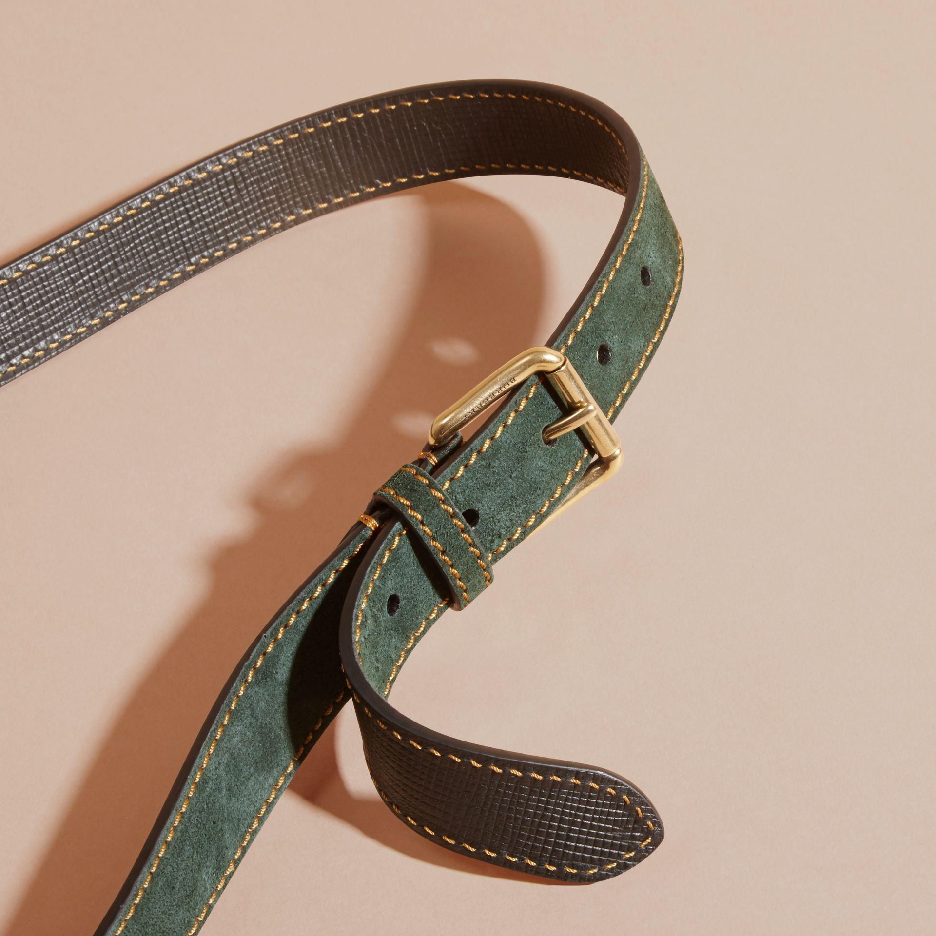 Dark forest green English Suede Belt with Topstitch Detail - gallery image 2