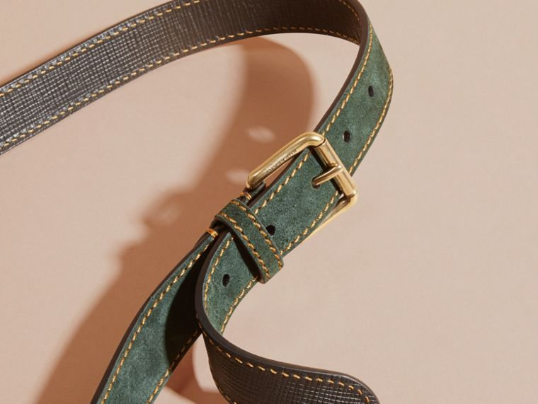 Dark forest green English Suede Belt with Topstitch Detail - cell image 1