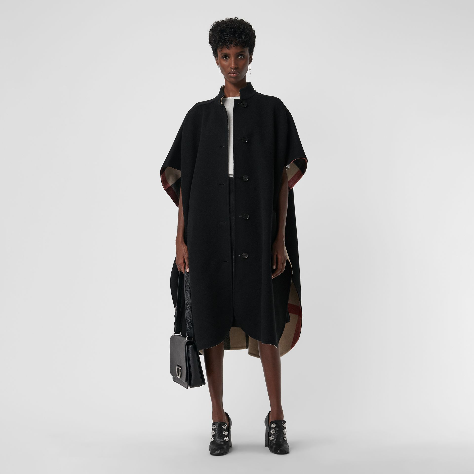 Reversible Check Oversized Poncho in Black - Women | Burberry - gallery image 0
