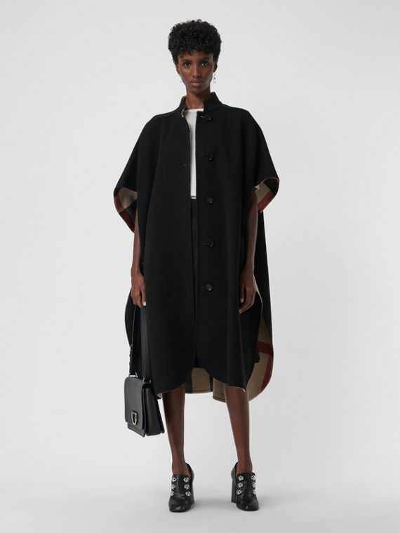 Reversible Check Oversized Poncho in Black