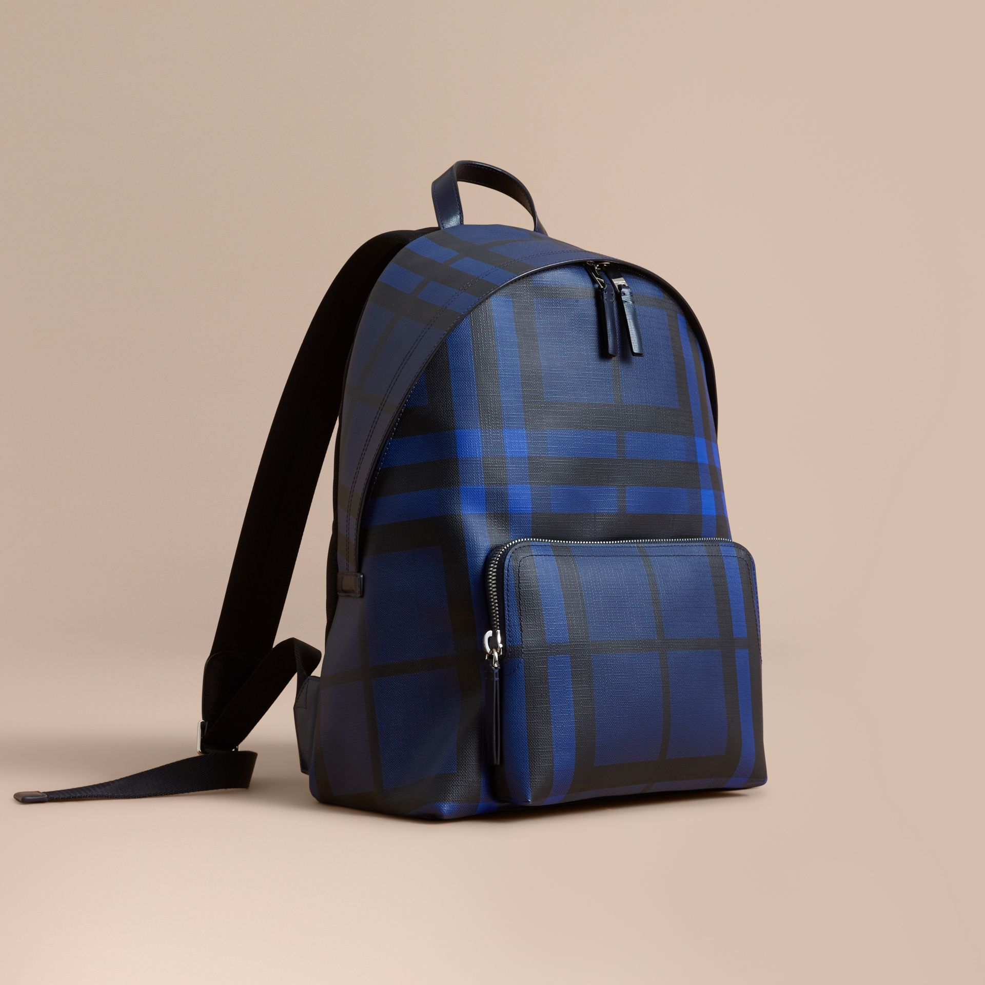Leather Trim London Check Backpack in Bright Lapis - Men | Burberry United Kingdom - gallery image 1