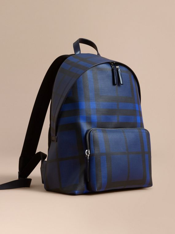 Leather Trim London Check Backpack in Bright Lapis