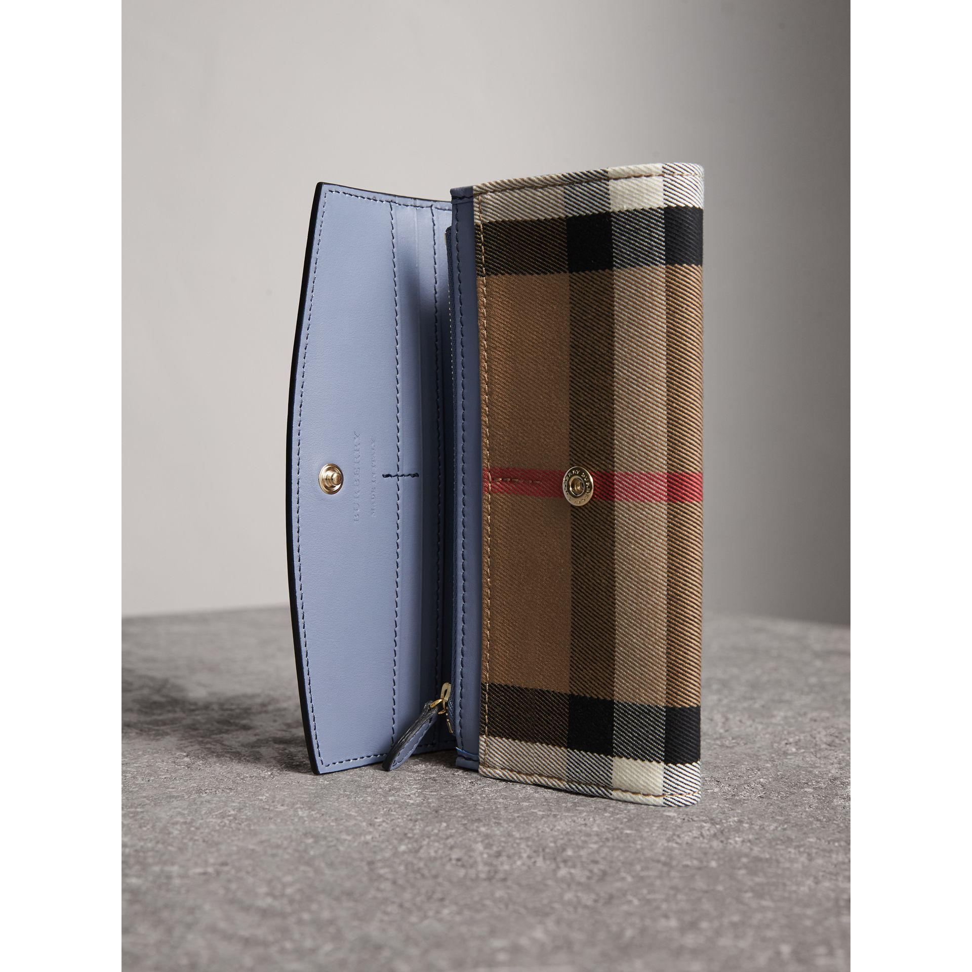 House Check And Leather Continental Wallet in Slate Blue - Women | Burberry Australia - gallery image 2