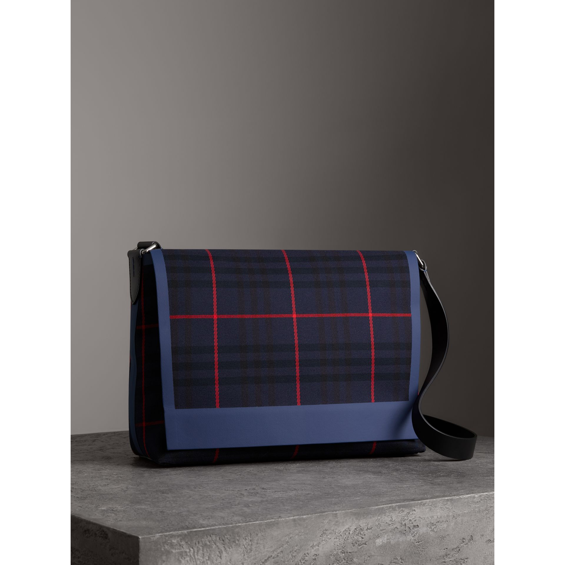 Large Tartan Cotton Messenger Bag in Deep Navy | Burberry - gallery image 6