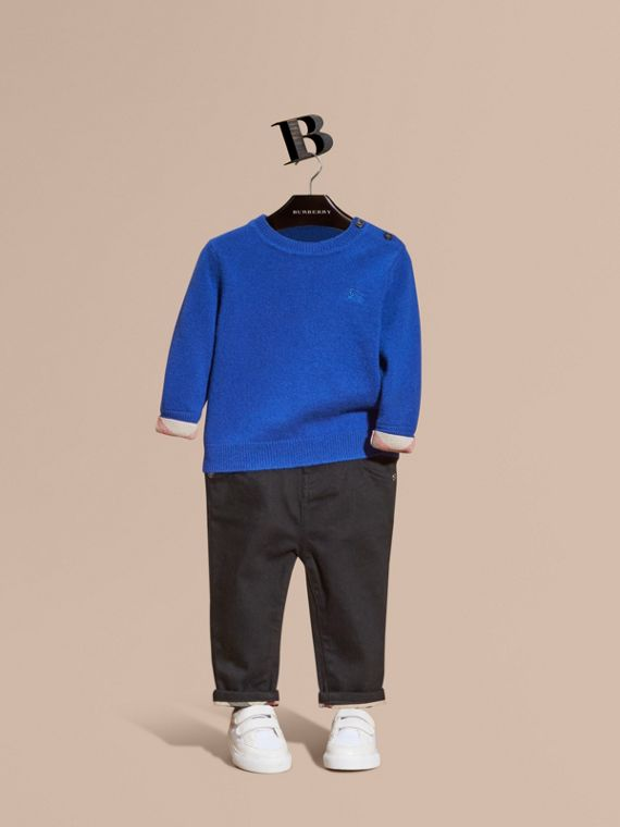 Check Detail Cashmere Sweater Brilliant Blue