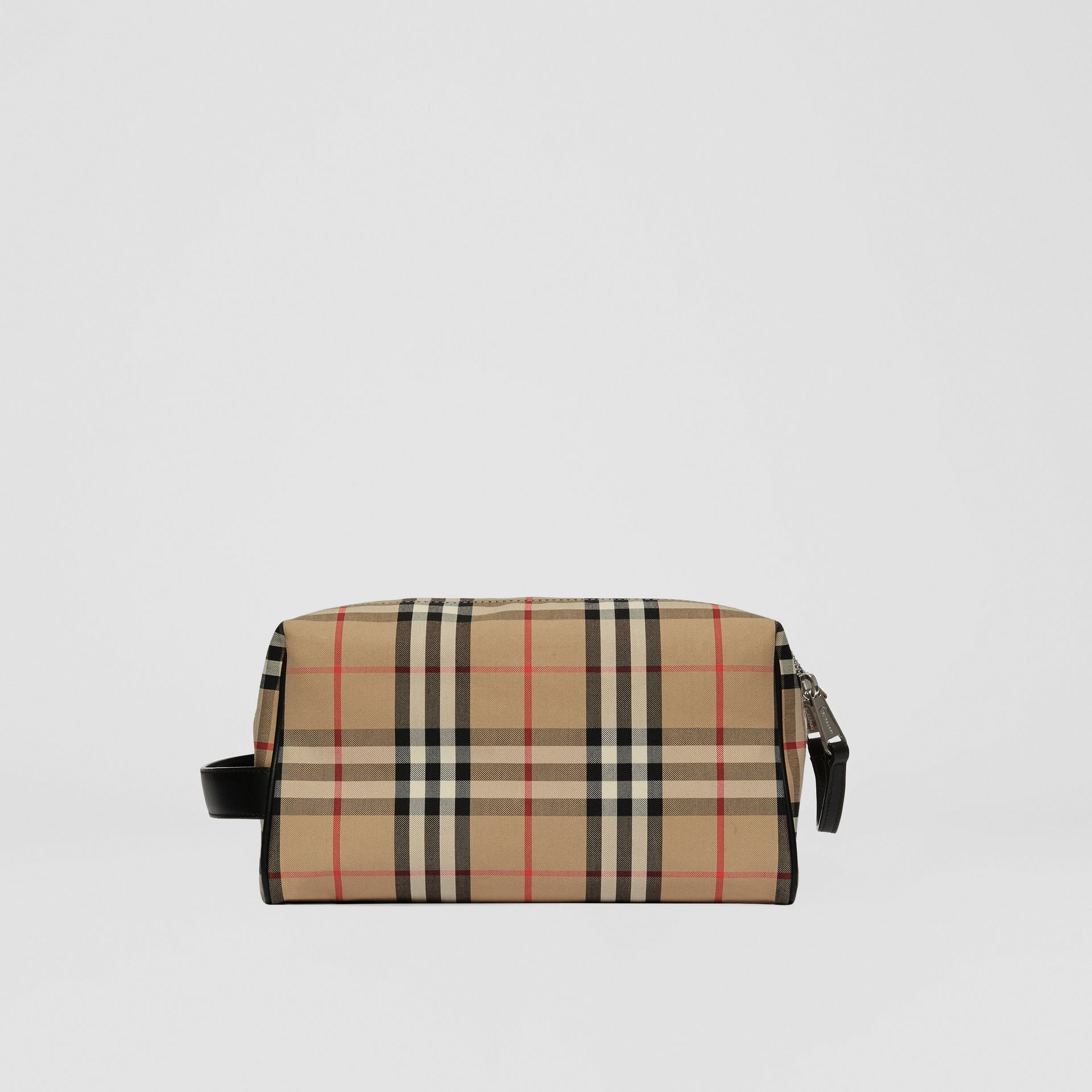 Logo Appliqué Vintage Check Travel Pouch in Archive Beige - Men | Burberry - gallery image 7