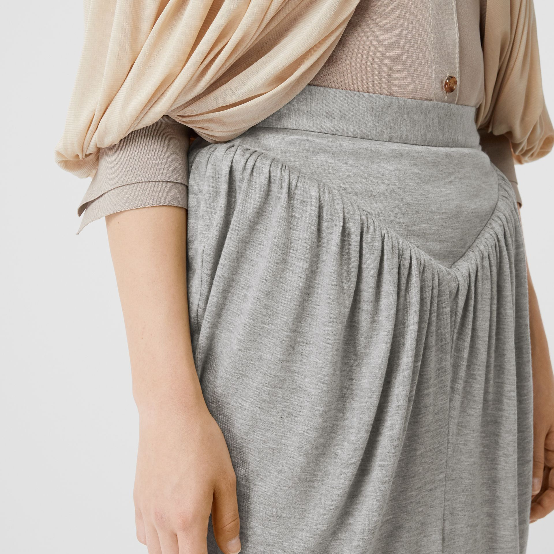 Gathered Jersey Sculptural Skirt in Pewter Melange - Women | Burberry United States - gallery image 1