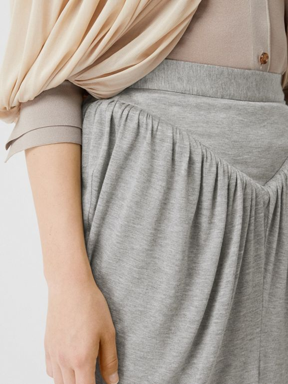 Gathered Jersey Sculptural Skirt in Pewter Melange - Women | Burberry - cell image 1