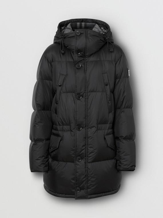 Logo Detail Hooded Puffer Coat in Black