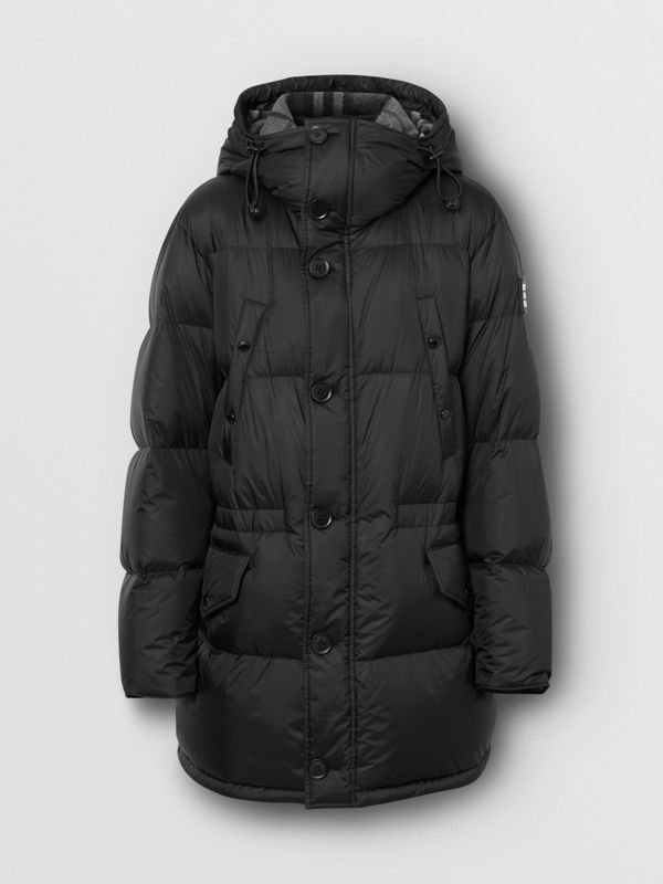 Logo Detail Hooded Puffer Coat in Black - Men | Burberry - cell image 3