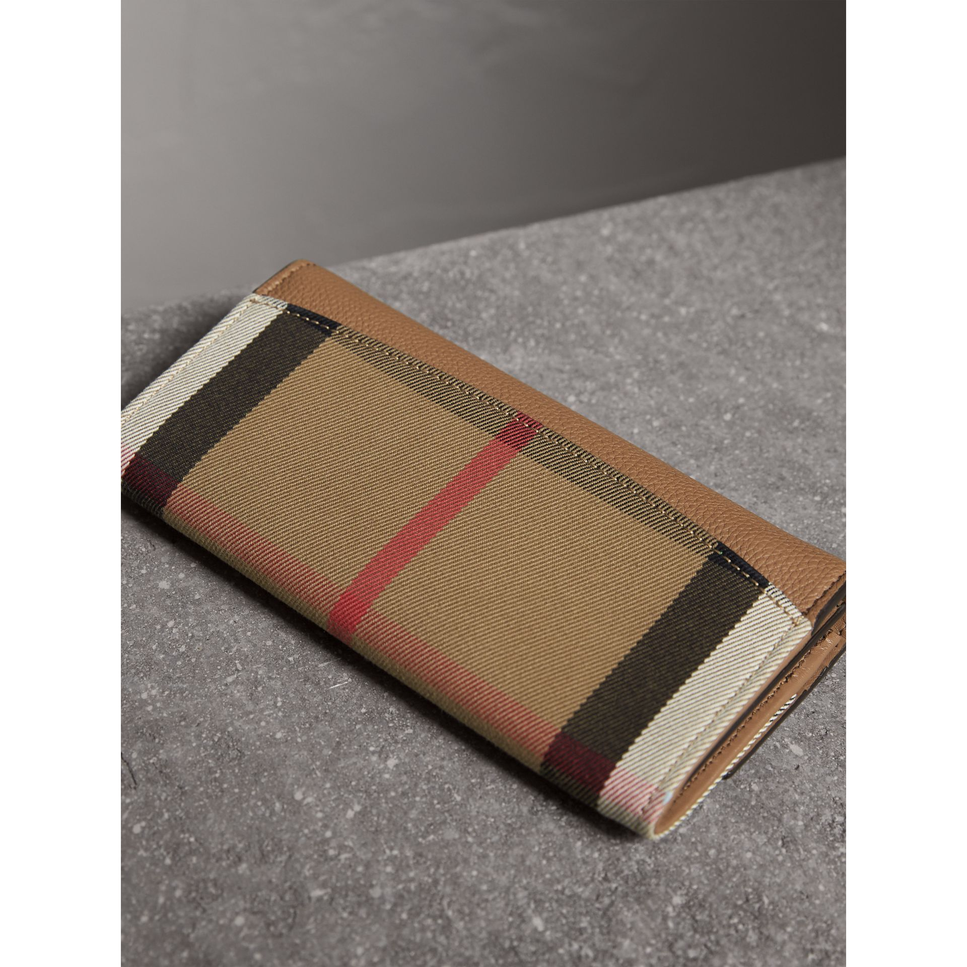 House Check And Leather Continental Wallet in Dark Sand - Women | Burberry - gallery image 3