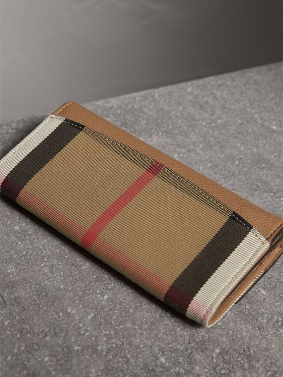 House Check And Leather Continental Wallet in Dark Sand - Women | Burberry Canada - cell image 2