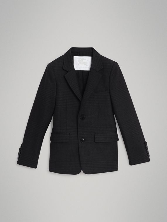 Prince of Wales Check Wool Blazer in Dark Grey