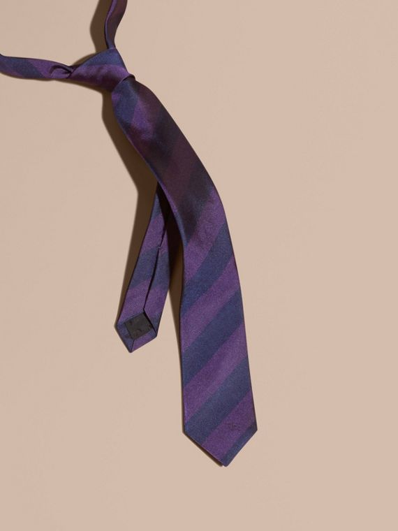 Slim Cut Stripe Jacquard Silk Tie Purple Black