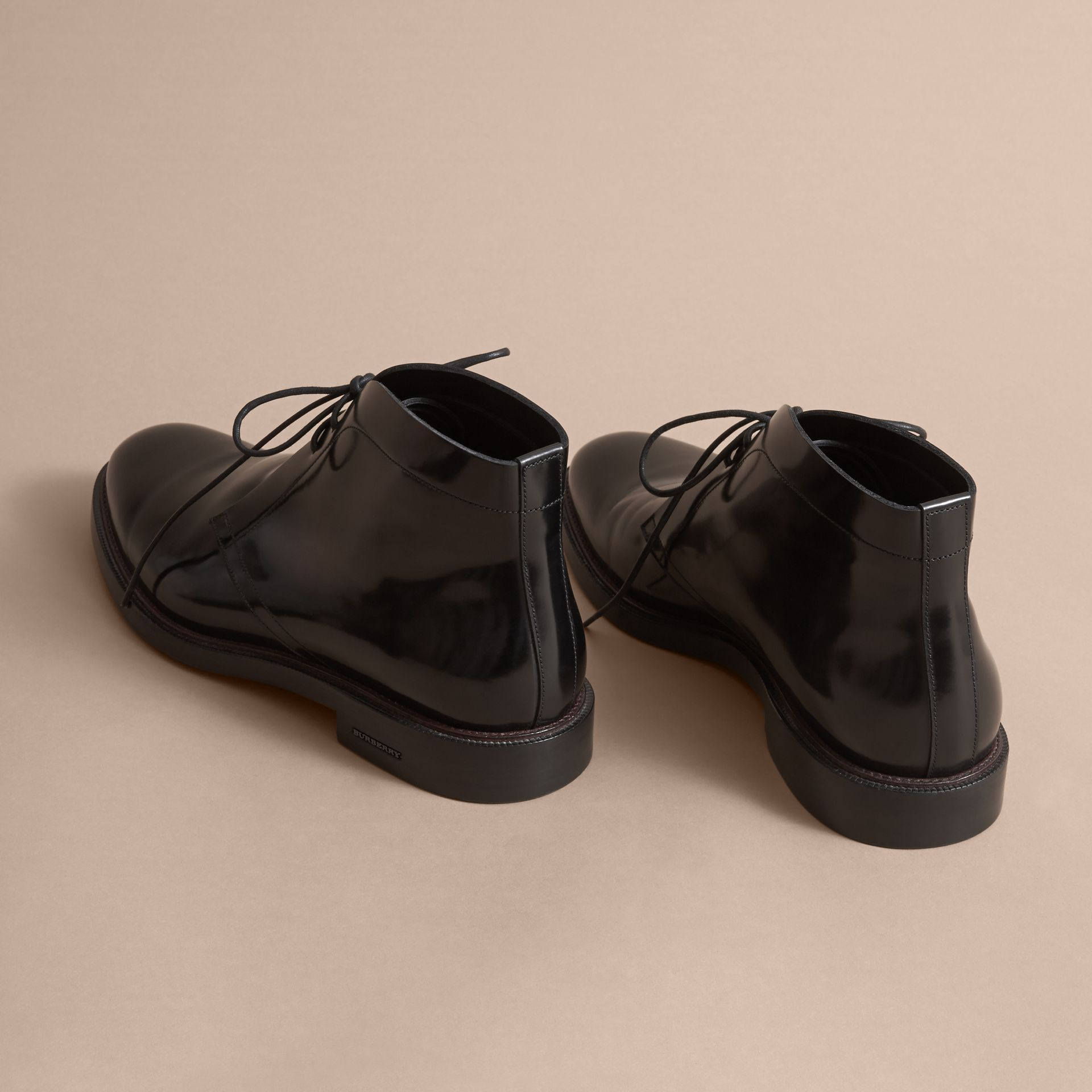 Polished Leather Desert Boots in Black - Men | Burberry - gallery image 3