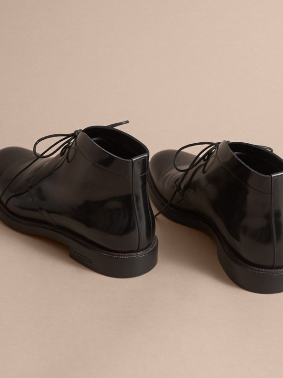 Polished Leather Desert Boots in Black - Men | Burberry Canada - cell image 3