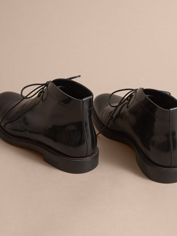 Polished Leather Desert Boots in Black - Men | Burberry - cell image 3