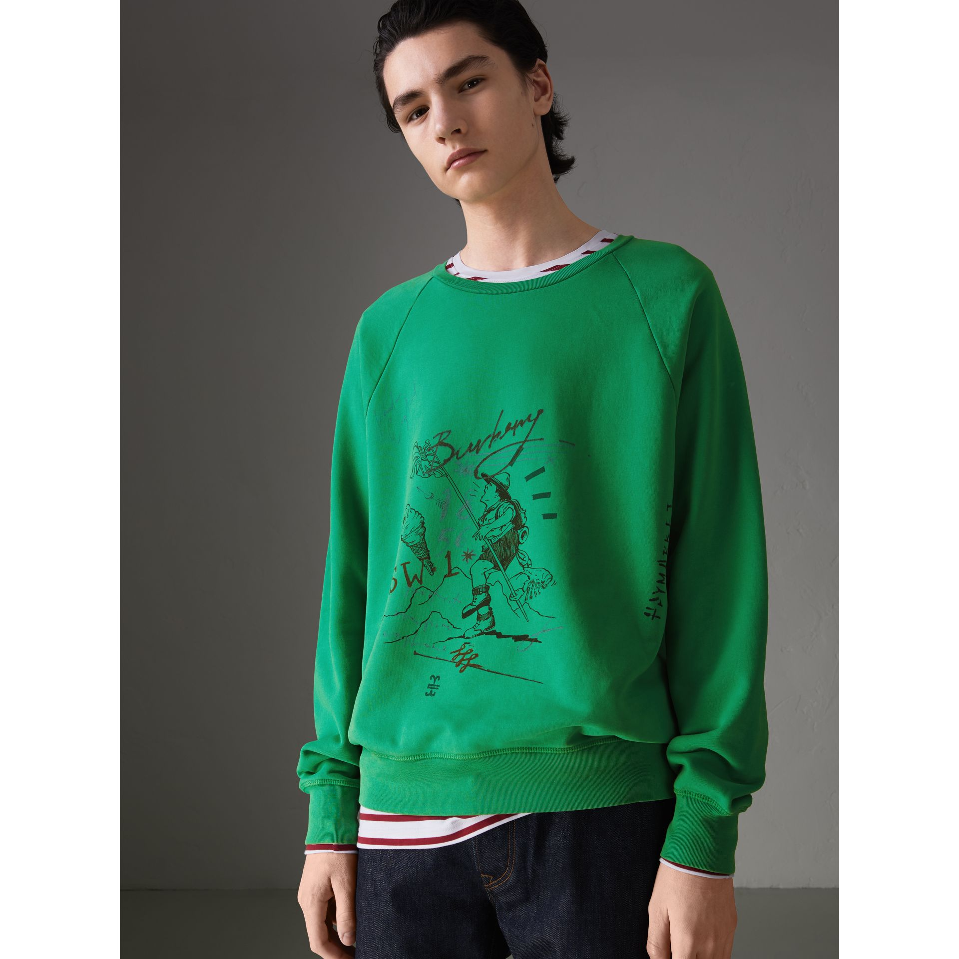 Adventure Print Cotton Sweatshirt in Bright Green - Men | Burberry - gallery image 4