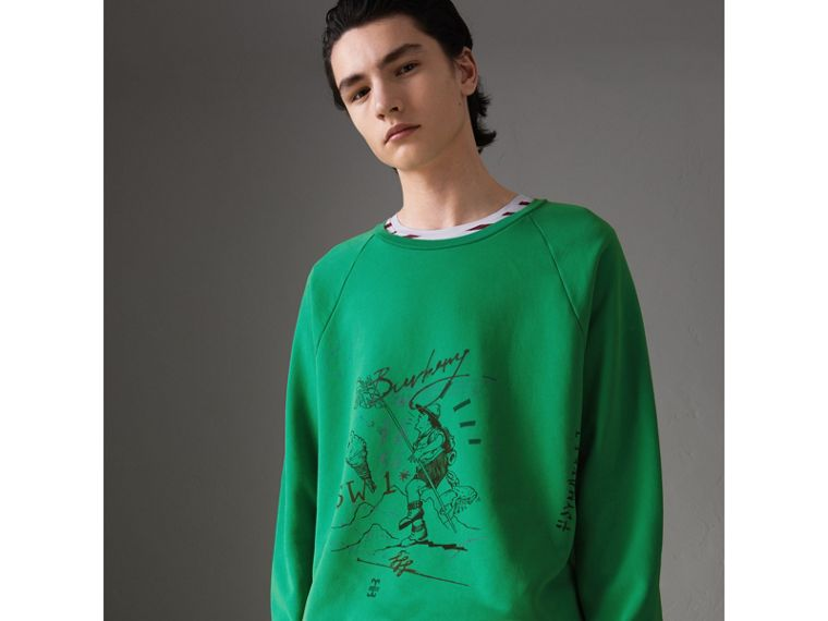 Adventure Print Cotton Sweatshirt in Bright Green - Men | Burberry United States - cell image 4