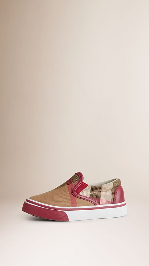 Parade red House Check Cotton High-Top Trainers - Image 1