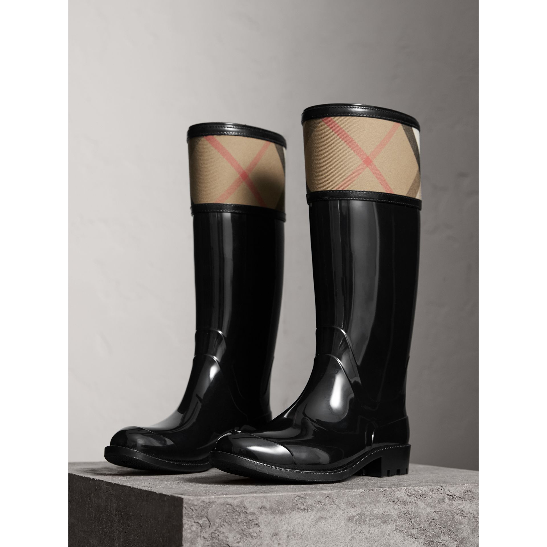 House Check Rain Boots in Black - Women | Burberry Hong Kong - gallery image 4