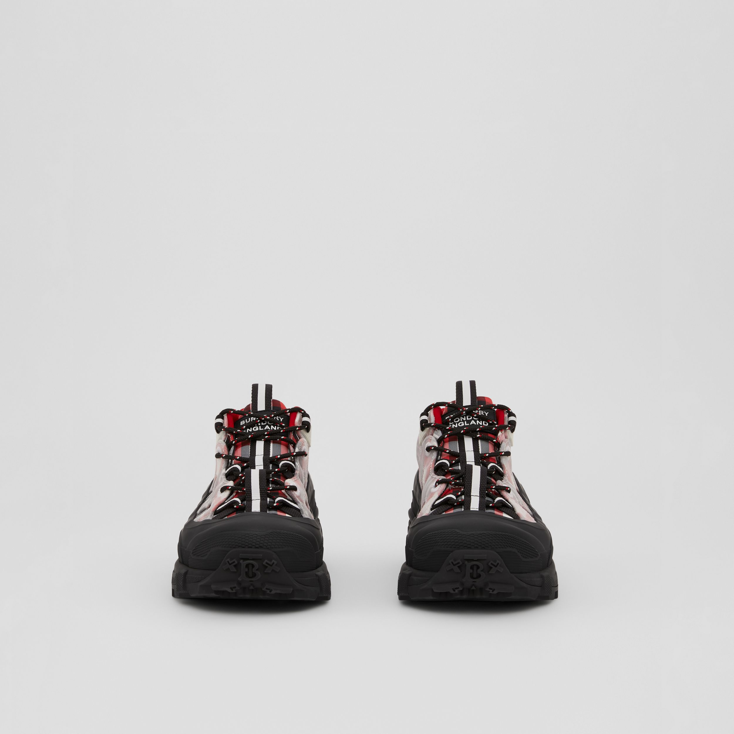 Tartan Nylon Arthur Sneakers in Red/black/white - Men | Burberry - 4