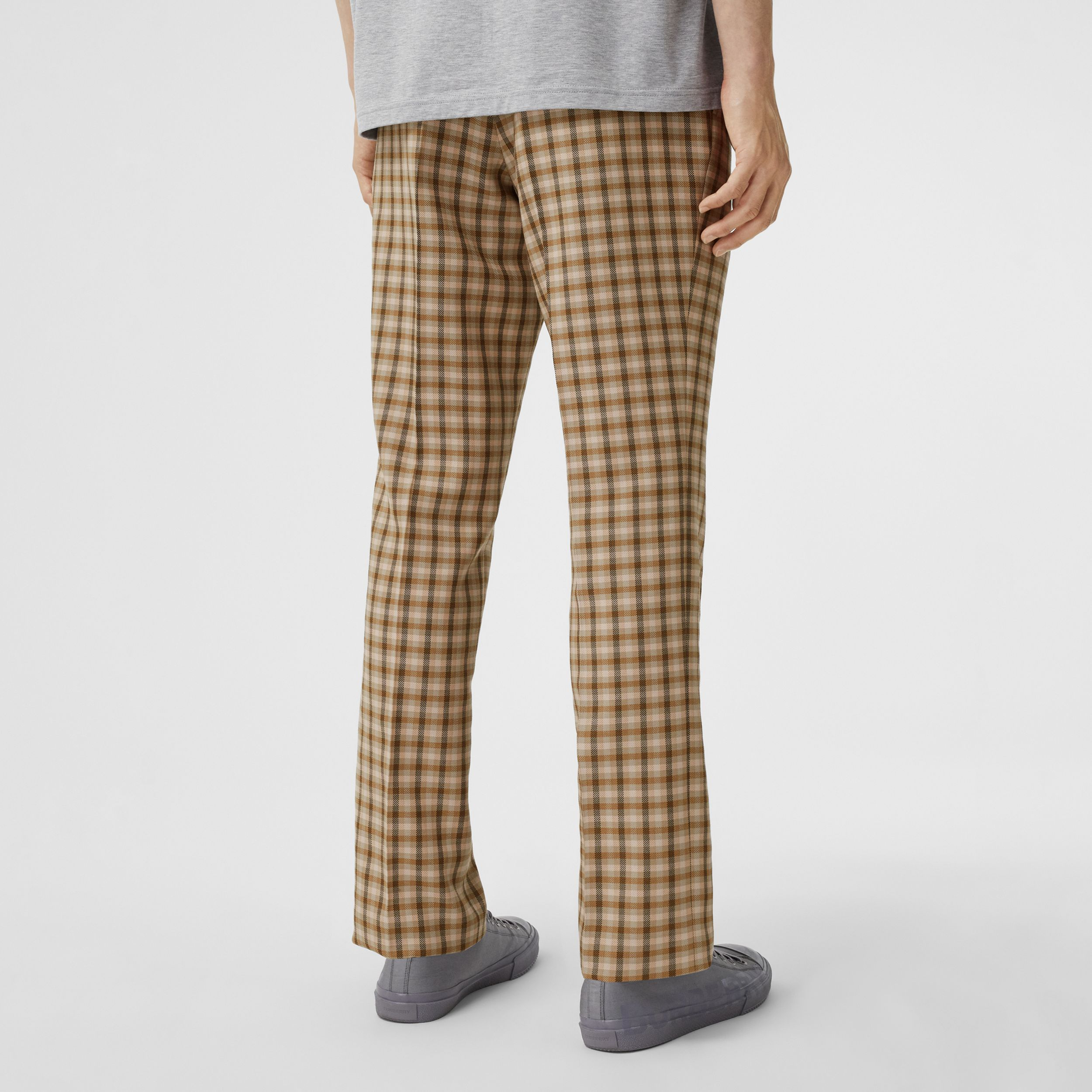 Gingham Wool Tailored Trousers in Soft Fawn - Men | Burberry - 3