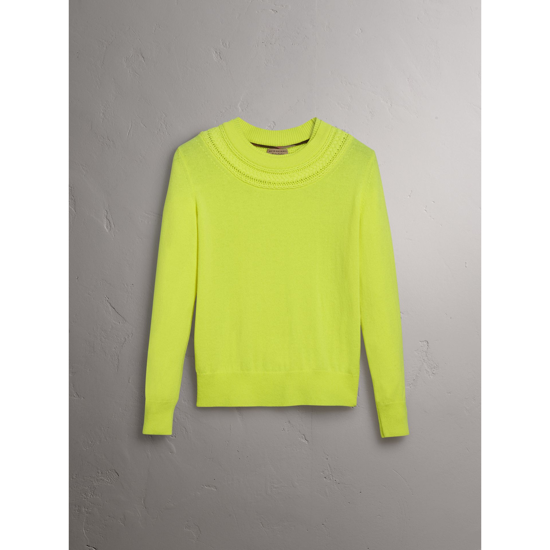 Cable Knit Yoke Cashmere Sweater in Fluorescent Yellow - Women | Burberry - gallery image 3