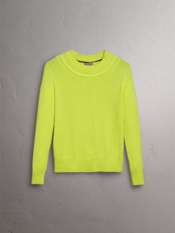 Cable Knit Yoke Cashmere Sweater in Fluorescent Yellow - Women | Burberry Hong Kong - cell image 3