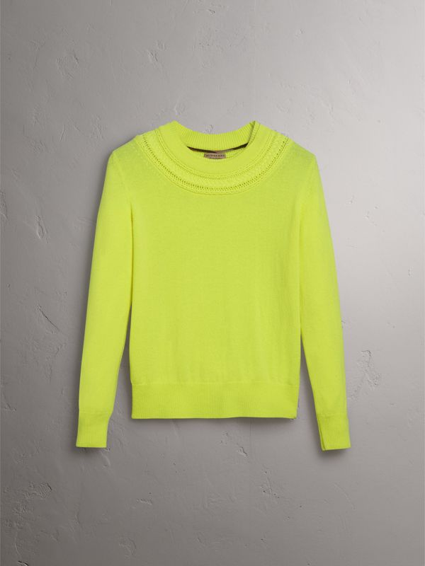 Cable Knit Yoke Cashmere Sweater in Fluorescent Yellow - Women | Burberry - cell image 3