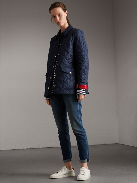 Check Detail Diamond Quilted Jacket in Navy