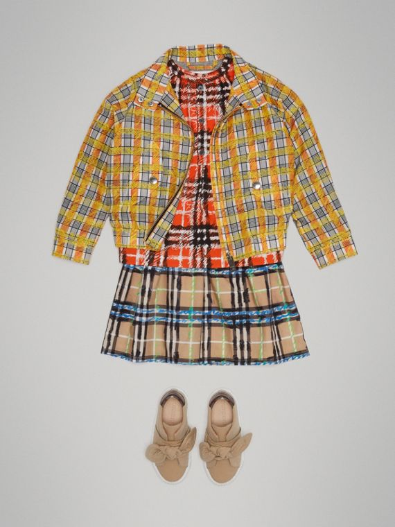 Scribble Check Cotton Silk Harrington Jacket in Bright Yellow