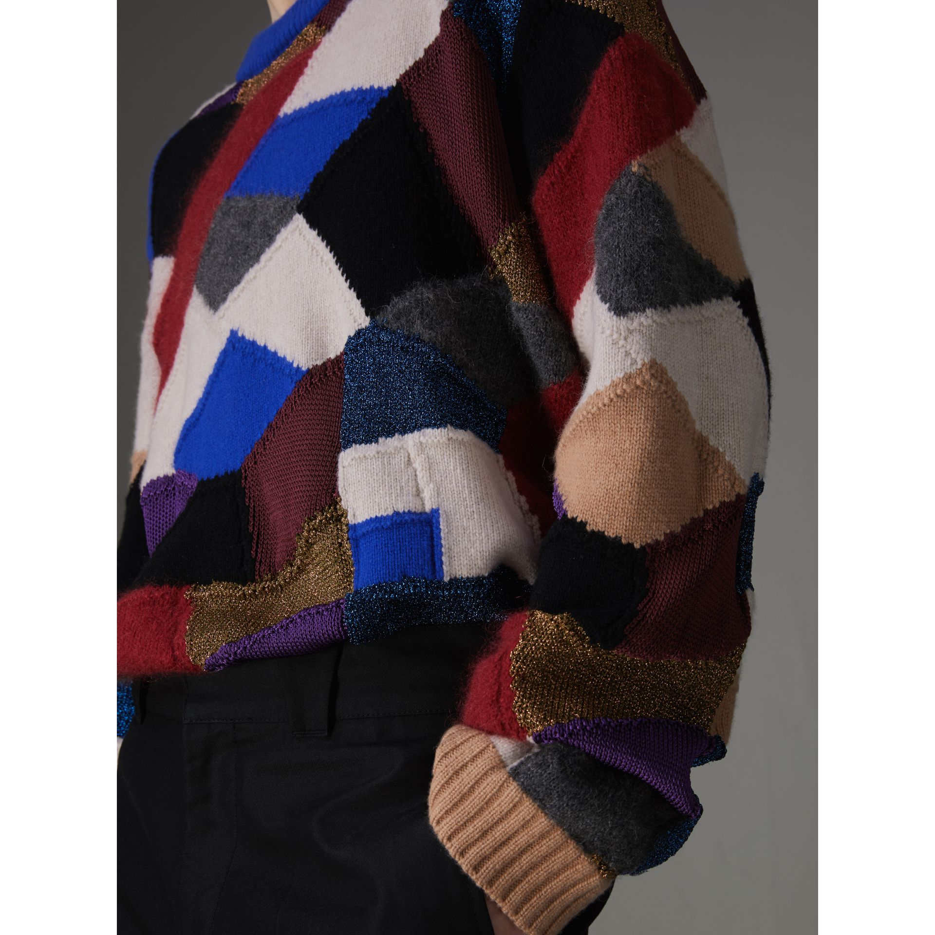 Patchwork Cashmere Wool Blend Sweater in Cobalt Blue - Men | Burberry United Kingdom - gallery image 1