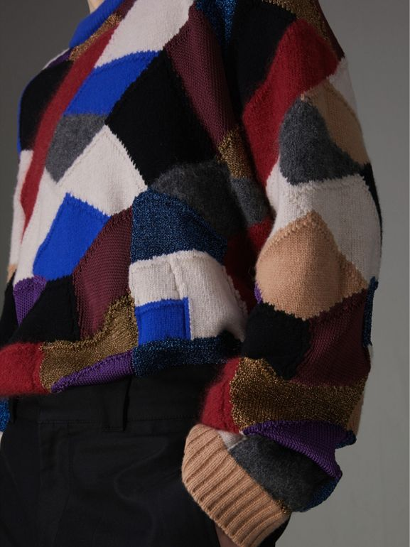 Patchwork Cashmere Wool Blend Sweater in Cobalt Blue - Men | Burberry - cell image 1