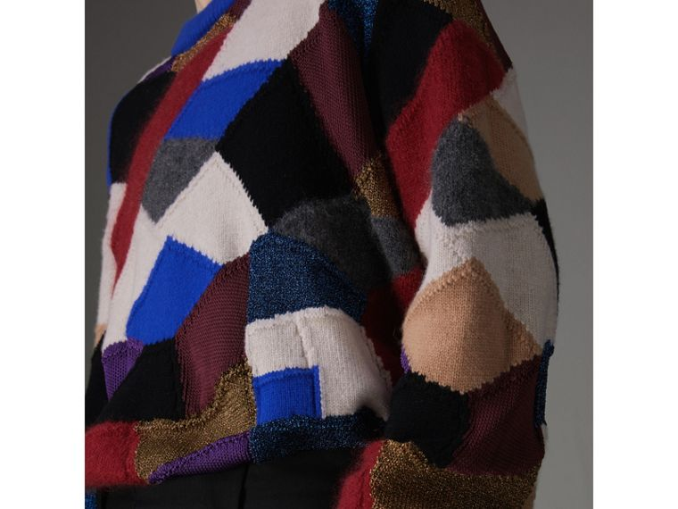 Patchwork Cashmere Wool Blend Sweater in Cobalt Blue - Men | Burberry United Kingdom - cell image 1