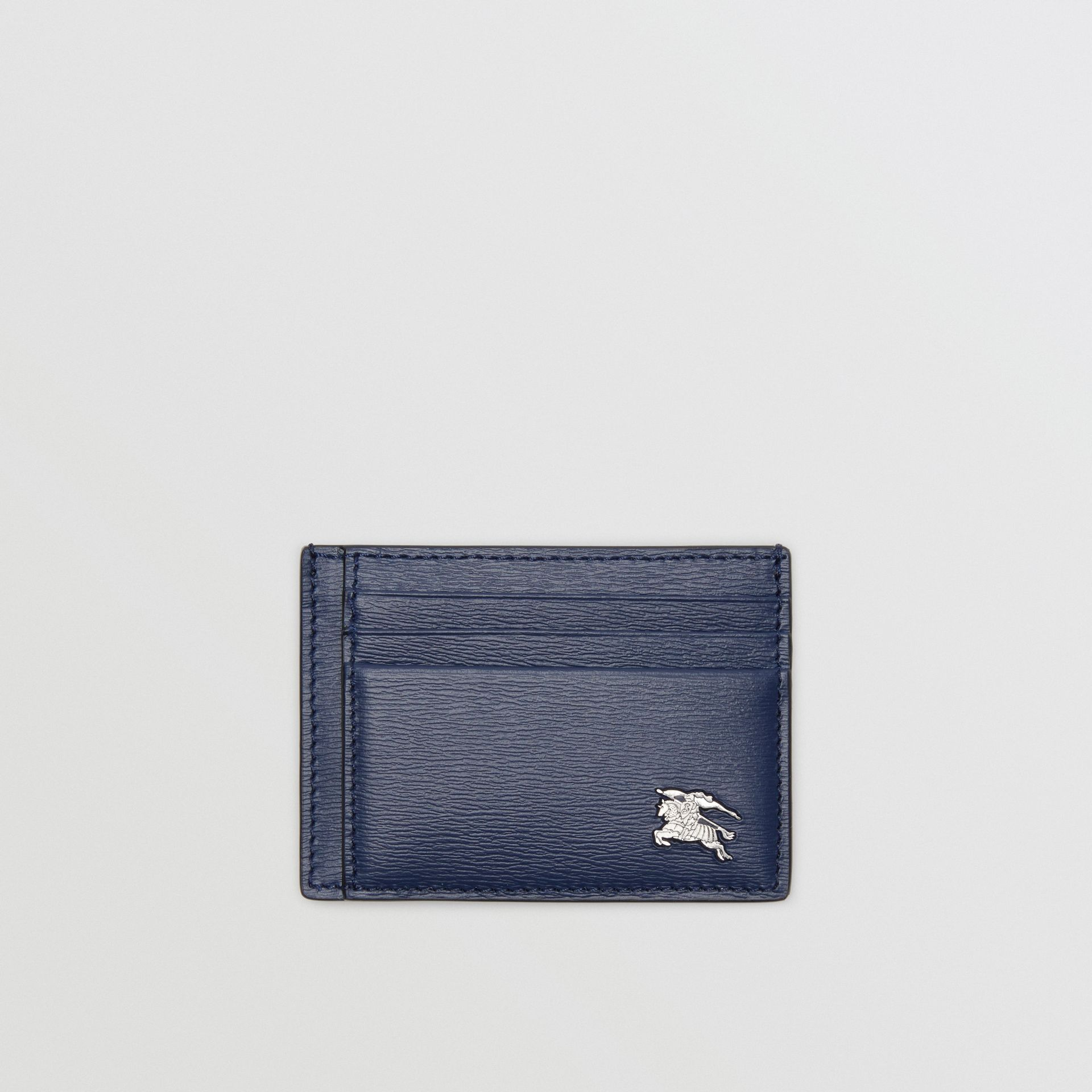 London Leather Money Clip Card Case in Navy - Men | Burberry - gallery image 0